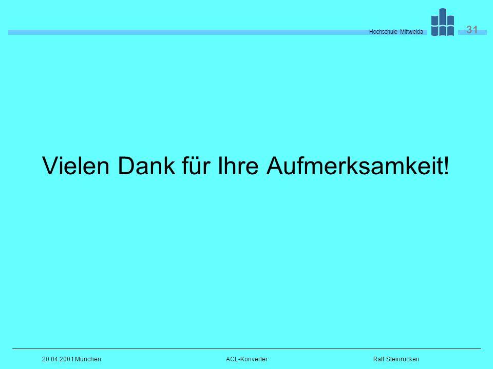 Hochschule Mittweida 31 Ralf Steinrücken20.04.2001 MünchenACL-Konverter Vielen Dank für Ihre Aufmerksamkeit!