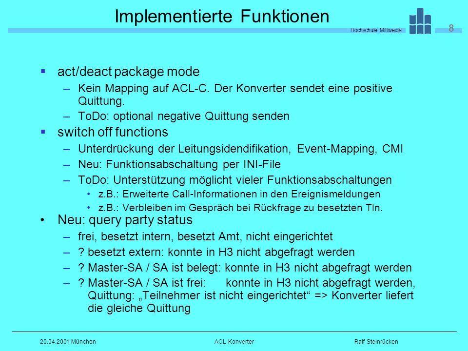 Hochschule Mittweida 8 Ralf Steinrücken20.04.2001 MünchenACL-Konverter Implementierte Funktionen act/deact package mode –Kein Mapping auf ACL-C.
