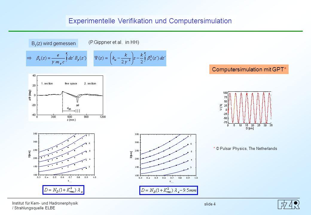 slide 5 Institut für Kern- und Hadronenphysik / Strahlungsquelle ELBE Bei Änderung des Spaltparameters und damit des Undulatorparameter K rms muss die Driftstrecke D verändert werden, wobei die Relation einzuhalten ist.
