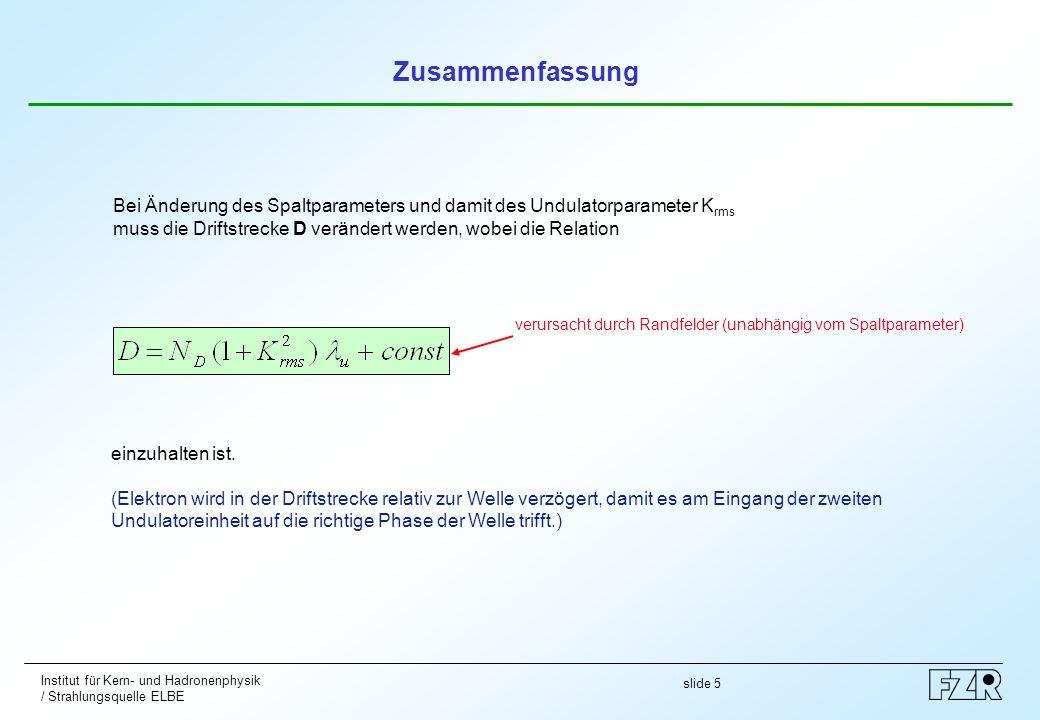 slide 5 Institut für Kern- und Hadronenphysik / Strahlungsquelle ELBE Bei Änderung des Spaltparameters und damit des Undulatorparameter K rms muss die