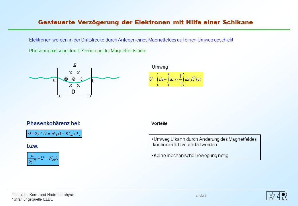 slide 6 Institut für Kern- und Hadronenphysik / Strahlungsquelle ELBE Gesteuerte Verzögerung der Elektronen mit Hilfe einer Schikane Elektronen werden