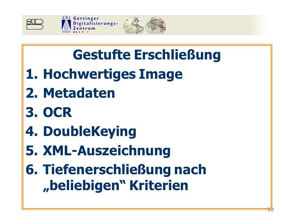 10 Gestufte Erschließung 1.Hochwertiges Image 2.Metadaten 3.OCR 4.DoubleKeying 5.XML-Auszeichnung 6.Tiefenerschließung nach beliebigen Kriterien