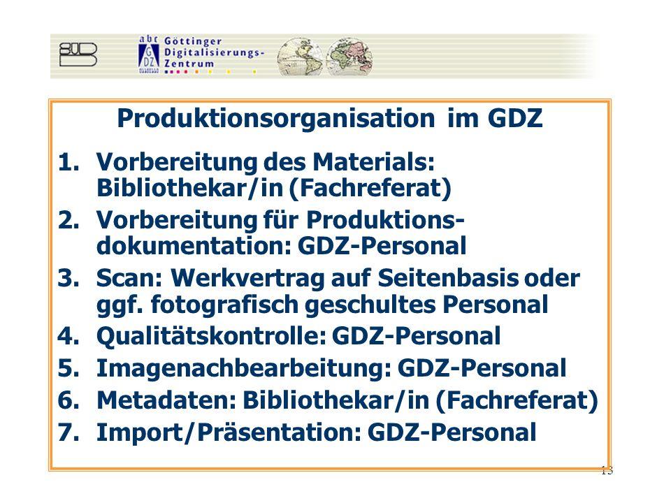 13 Produktionsorganisation im GDZ 1.Vorbereitung des Materials: Bibliothekar/in (Fachreferat) 2.Vorbereitung für Produktions- dokumentation: GDZ-Perso