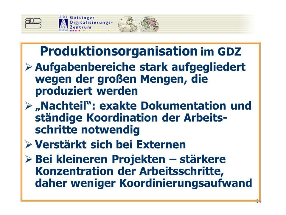 14 Produktionsorganisation im GDZ Aufgabenbereiche stark aufgegliedert wegen der großen Mengen, die produziert werden Nachteil: exakte Dokumentation u