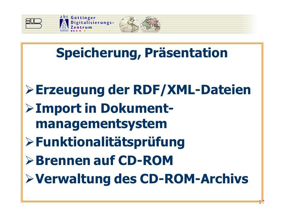 17 Speicherung, Präsentation Erzeugung der RDF/XML-Dateien Import in Dokument- managementsystem Funktionalitätsprüfung Brennen auf CD-ROM Verwaltung d
