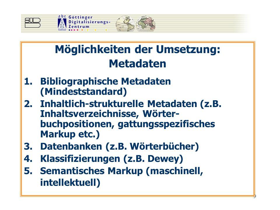 9 Möglichkeiten der Umsetzung: Metadaten 1.Bibliographische Metadaten (Mindeststandard) 2.Inhaltlich-strukturelle Metadaten (z.B. Inhaltsverzeichnisse