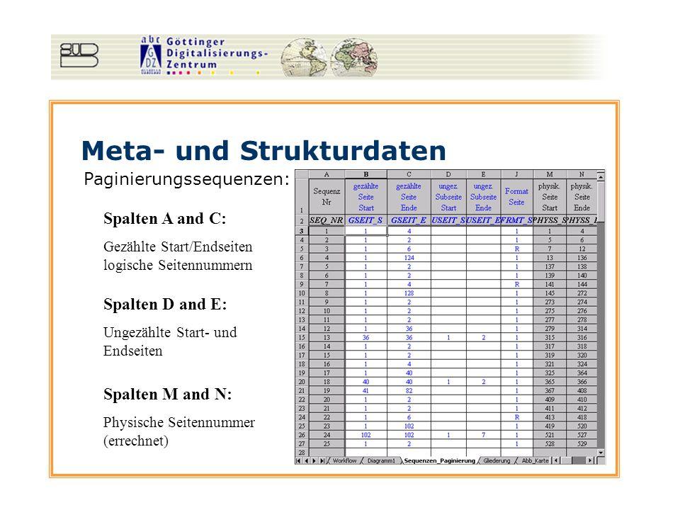 Meta- und Strukturdaten Paginierungssequenzen: Spalten A and C: Gezählte Start/Endseiten logische Seitennummern Spalten D and E: Ungezählte Start- und Endseiten Spalten M and N: Physische Seitennummer (errechnet)