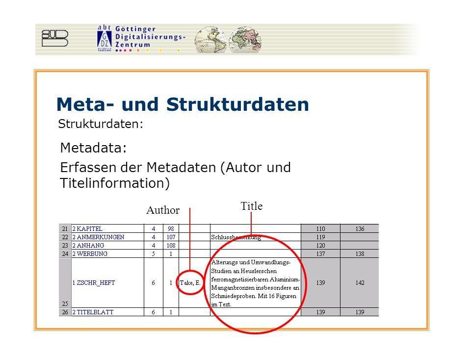 Meta- und Strukturdaten Strukturdaten: Metadata: Title Author Erfassen der Metadaten (Autor und Titelinformation)