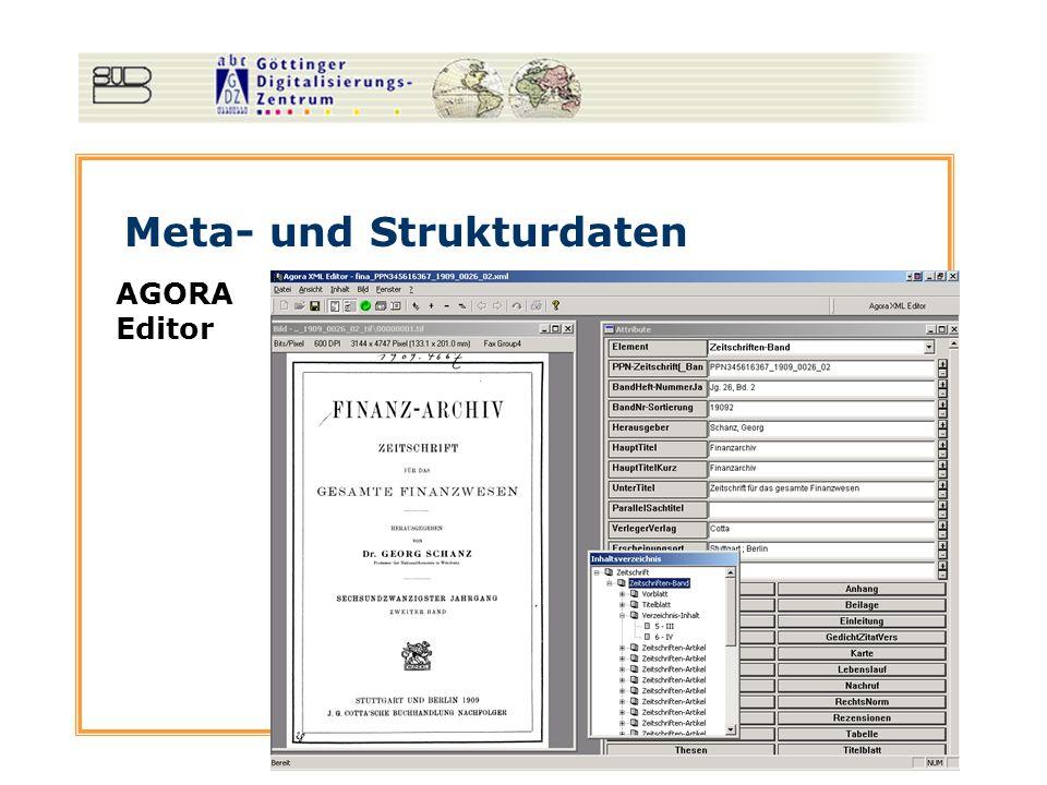 Meta- und Strukturdaten AGORA Editor