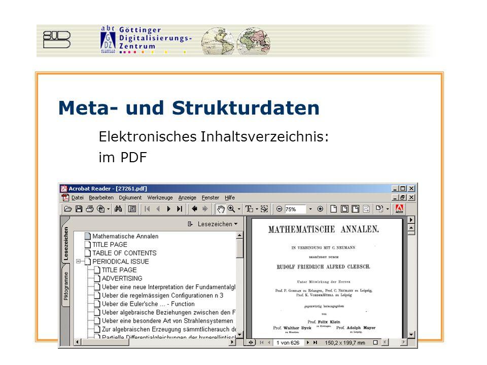 Meta- und Strukturdaten Elektronisches Inhaltsverzeichnis im Web: