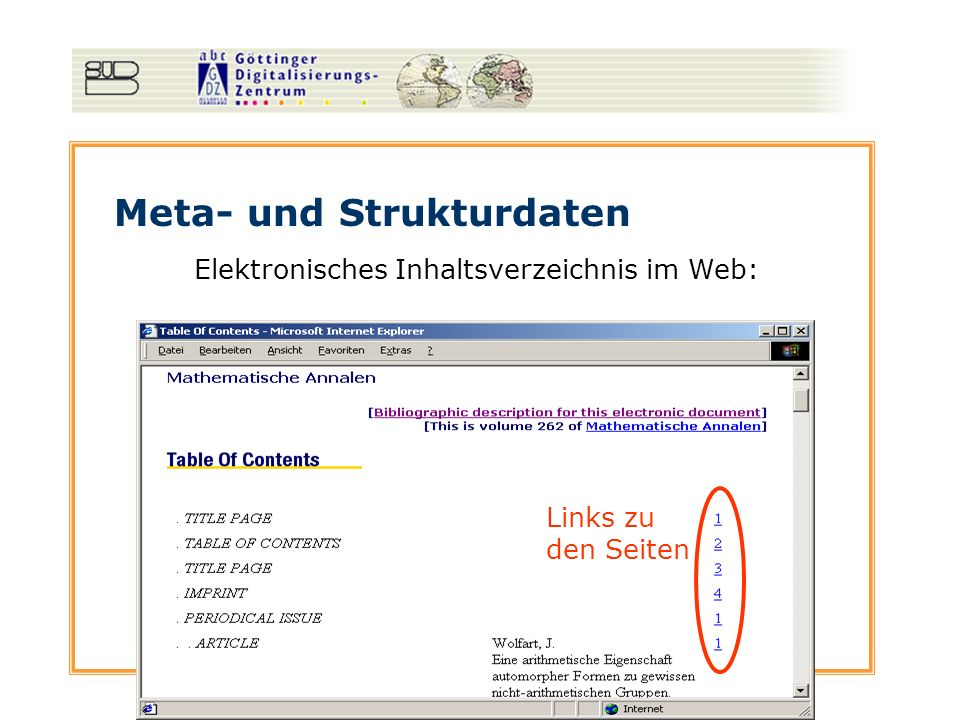 Meta- und Strukturdaten Elektronisches Inhaltsverzeichnis im Web: Links zu den Seiten