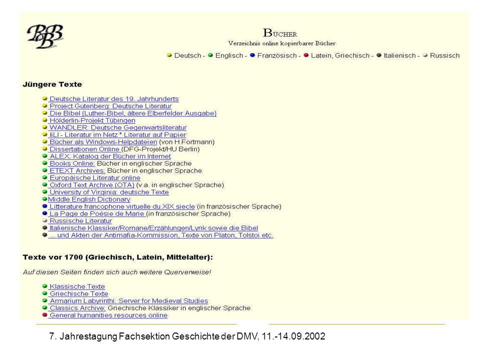 7. Jahrestagung Fachsektion Geschichte der DMV, 11.-14.09.2002 Bücher