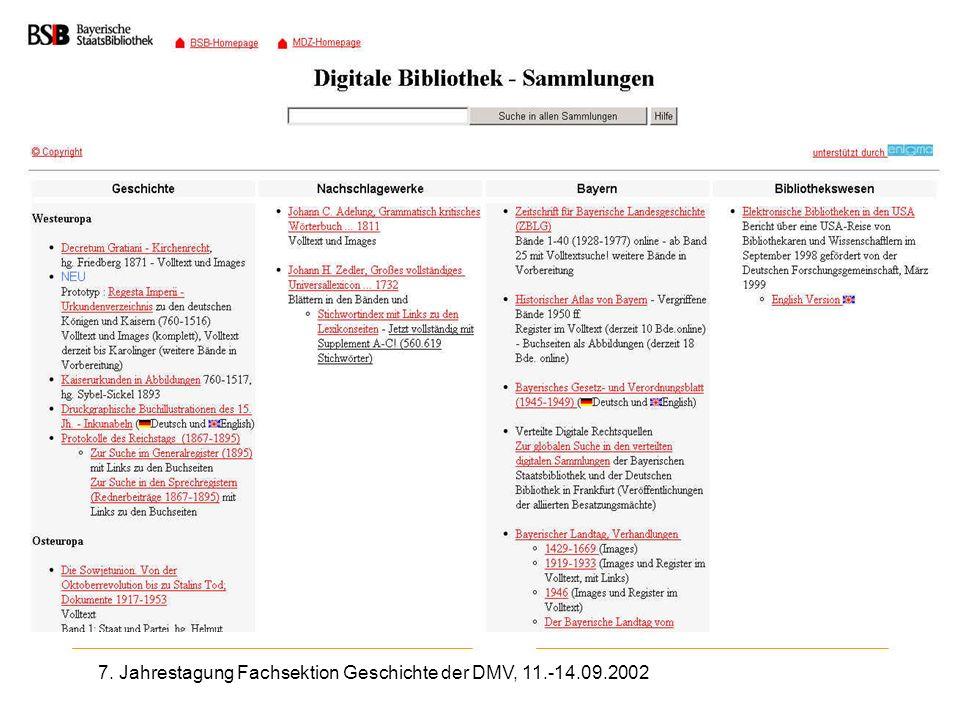 7. Jahrestagung Fachsektion Geschichte der DMV, 11.-14.09.2002 BSB