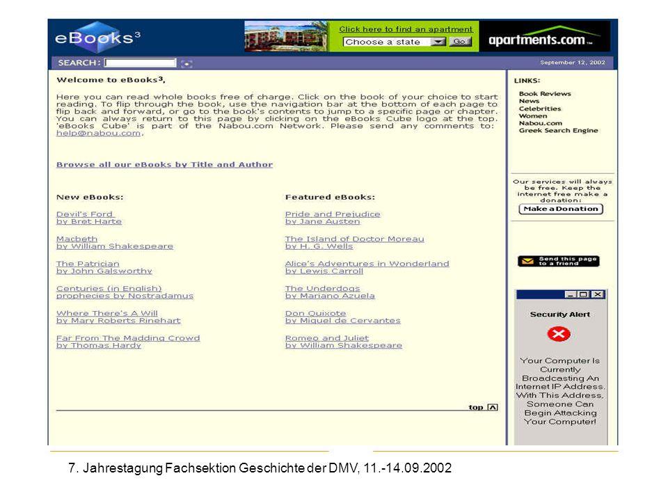 7. Jahrestagung Fachsektion Geschichte der DMV, 11.-14.09.2002 eBooks