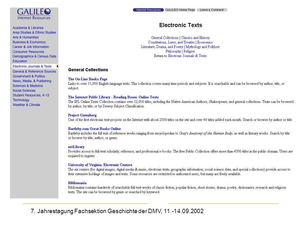 7. Jahrestagung Fachsektion Geschichte der DMV, 11.-14.09.2002 Galileo