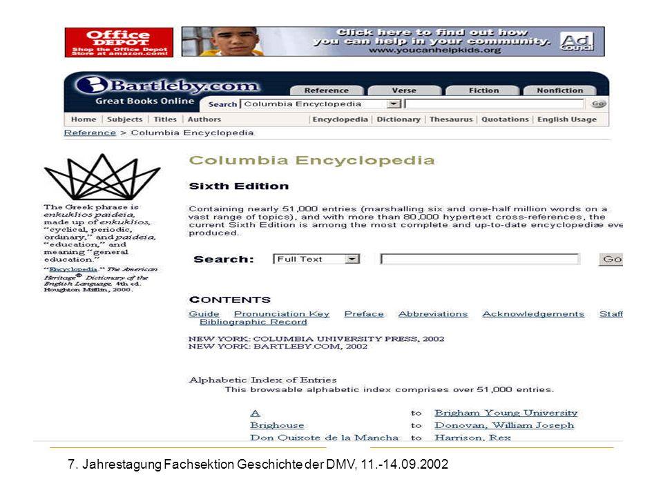 7. Jahrestagung Fachsektion Geschichte der DMV, 11.-14.09.2002 Columbia Encyclopedia