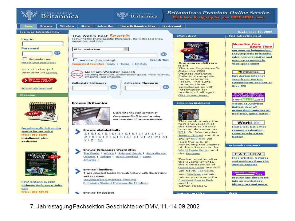 7. Jahrestagung Fachsektion Geschichte der DMV, 11.-14.09.2002 Britannica
