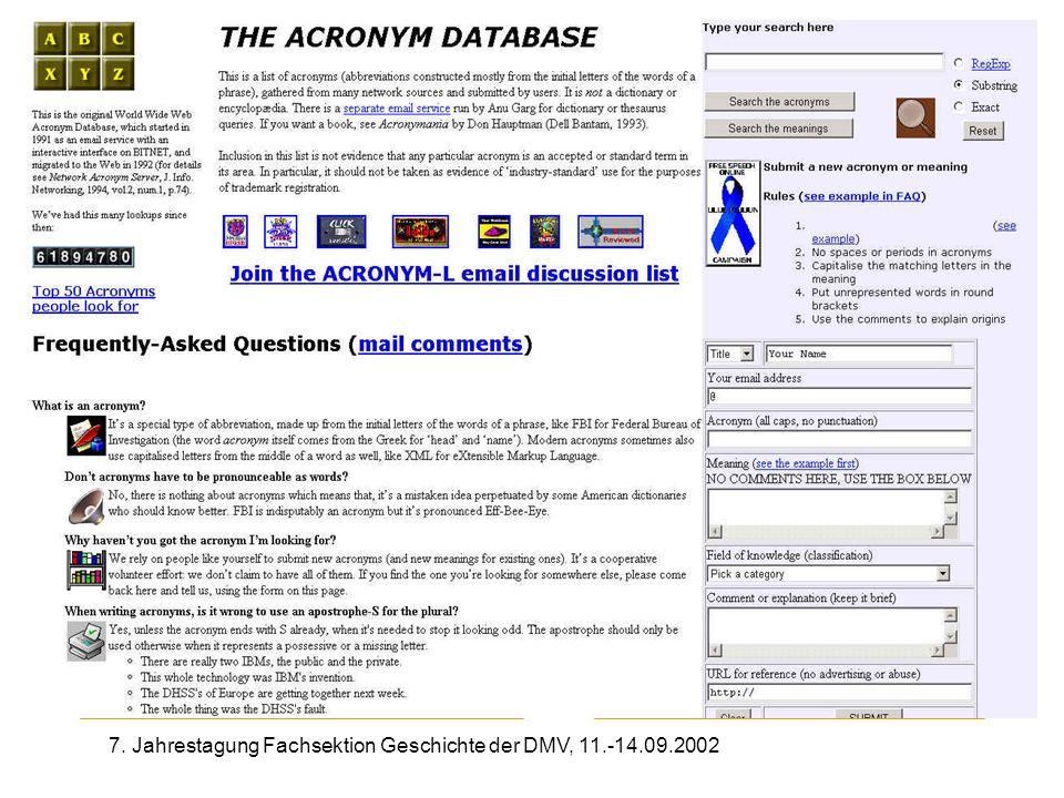 7. Jahrestagung Fachsektion Geschichte der DMV, 11.-14.09.2002 The Acronym Database