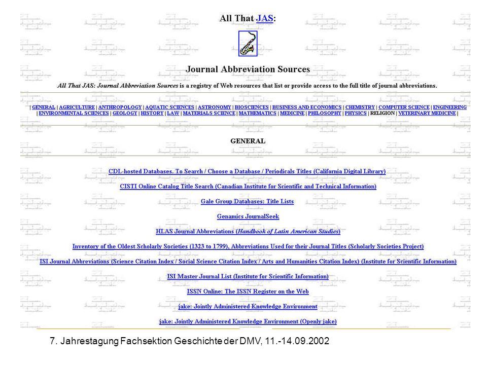 7. Jahrestagung Fachsektion Geschichte der DMV, 11.-14.09.2002 Journal Abbreviation Sources