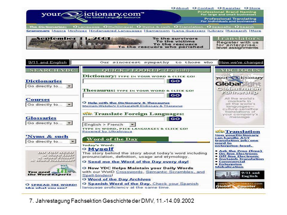 7. Jahrestagung Fachsektion Geschichte der DMV, 11.-14.09.2002 Your Dictionary.com