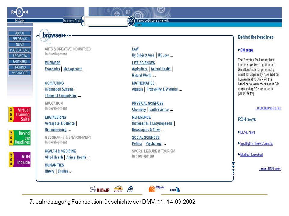 7. Jahrestagung Fachsektion Geschichte der DMV, 11.-14.09.2002 Resource Discovery Network
