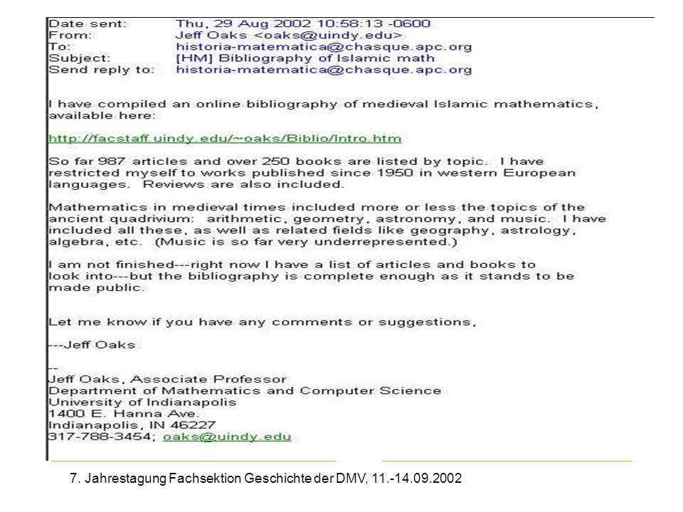 7. Jahrestagung Fachsektion Geschichte der DMV, 11.-14.09.2002 Mail aus HM-Liste