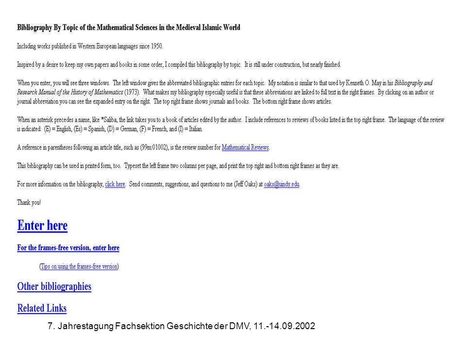 7. Jahrestagung Fachsektion Geschichte der DMV, 11.-14.09.2002 Bibliography Islamic World
