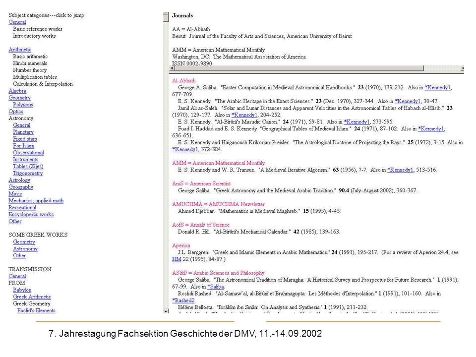 7. Jahrestagung Fachsektion Geschichte der DMV, 11.-14.09.2002 2. Seite