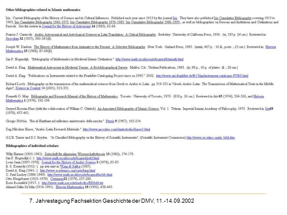7. Jahrestagung Fachsektion Geschichte der DMV, 11.-14.09.2002 Other bibliographies