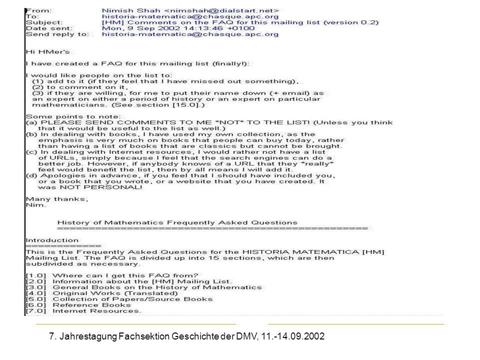 7. Jahrestagung Fachsektion Geschichte der DMV, 11.-14.09.2002 2. Mail aus HM-Liste