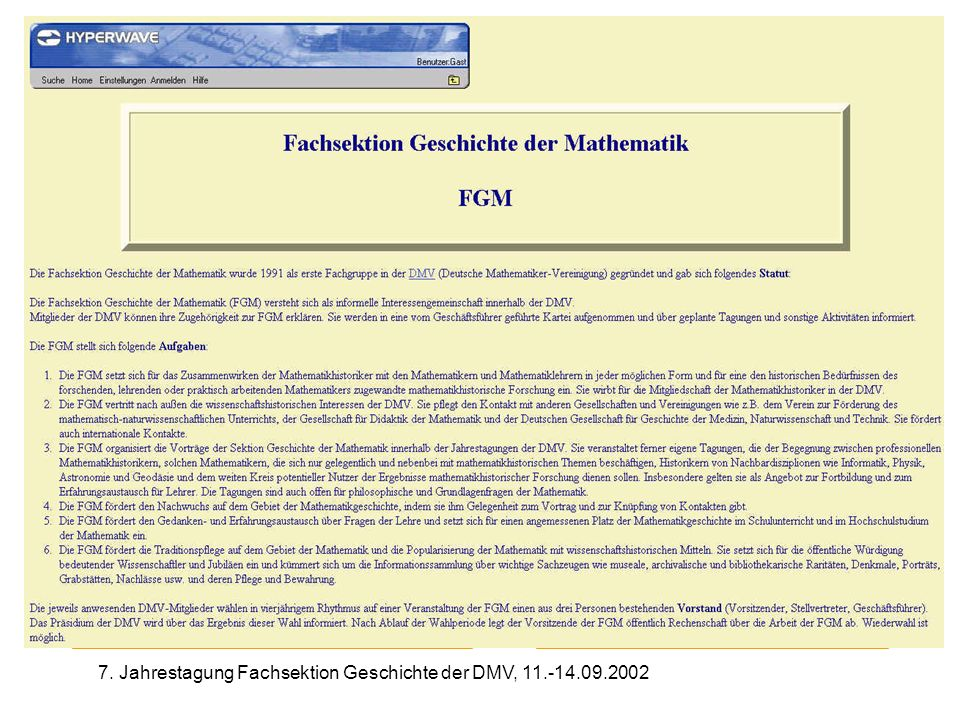 7. Jahrestagung Fachsektion Geschichte der DMV, 11.-14.09.2002 Fachsektion Geschichte