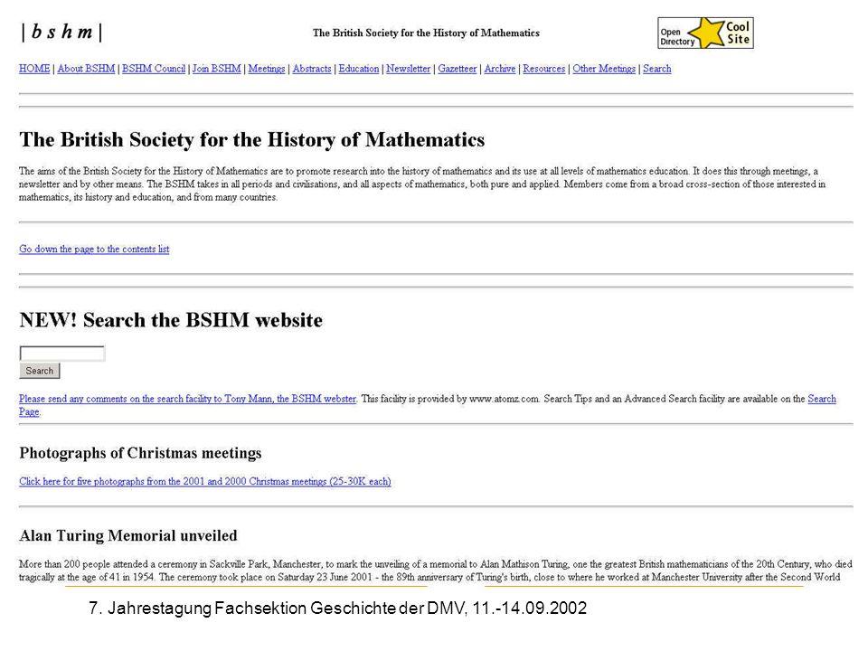 7. Jahrestagung Fachsektion Geschichte der DMV, 11.-14.09.2002 Bshm