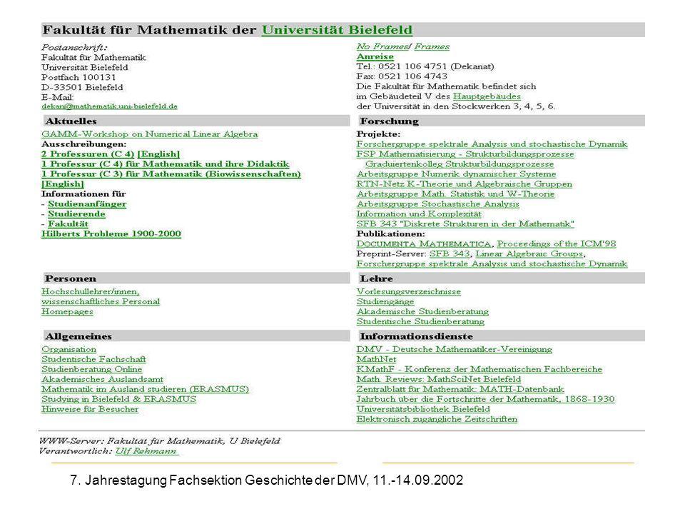 7. Jahrestagung Fachsektion Geschichte der DMV, 11.-14.09.2002 Math. Uni Bielefeld