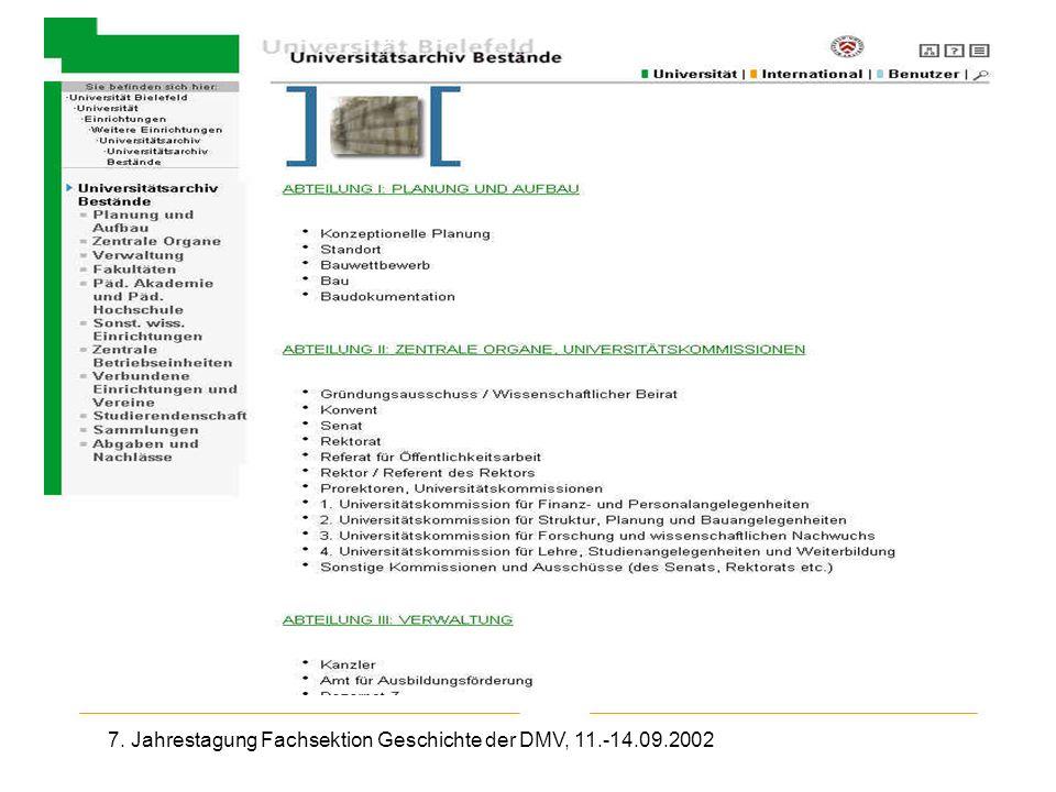 7. Jahrestagung Fachsektion Geschichte der DMV, 11.-14.09.2002 Uni-Archiv Bielefeld