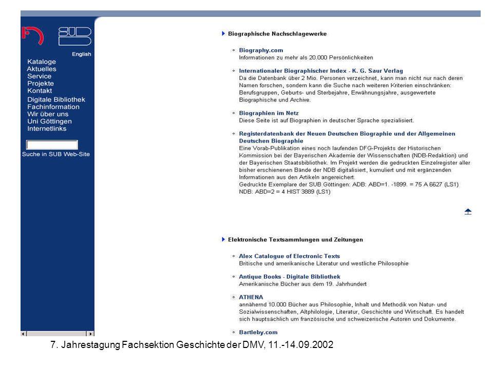 7. Jahrestagung Fachsektion Geschichte der DMV, 11.-14.09.2002 Biographische Nachschlagewerke SUB