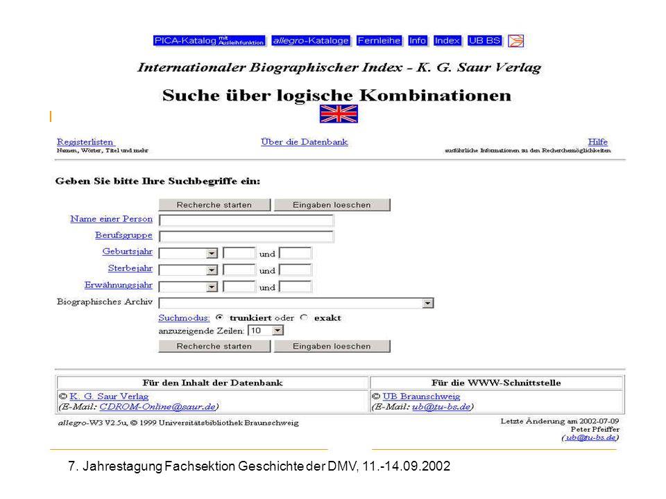 7. Jahrestagung Fachsektion Geschichte der DMV, 11.-14.09.2002 IBI Saur