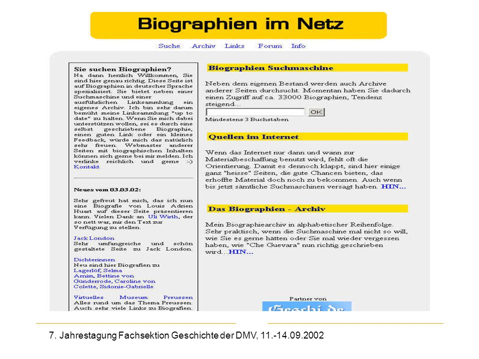 7. Jahrestagung Fachsektion Geschichte der DMV, 11.-14.09.2002 Biographien im Netz