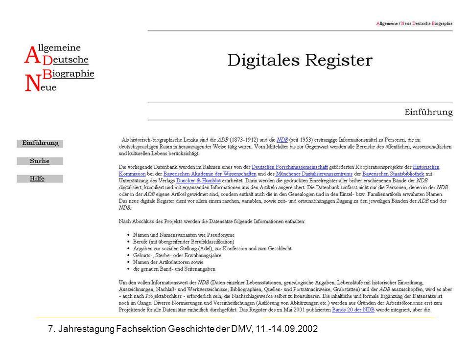 7. Jahrestagung Fachsektion Geschichte der DMV, 11.-14.09.2002 Enzyklopädien, Wörterbücher SUB