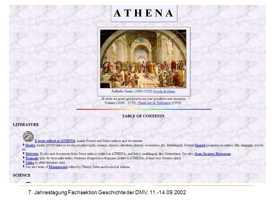7. Jahrestagung Fachsektion Geschichte der DMV, 11.-14.09.2002 Athena