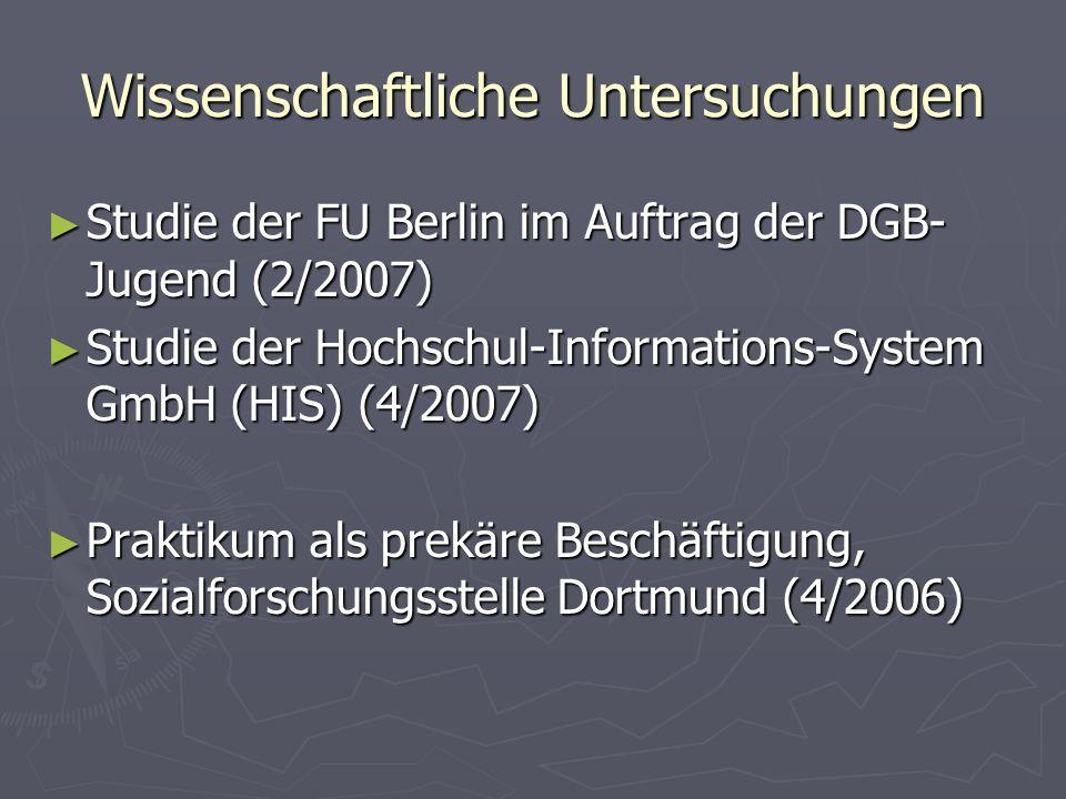 Wissenschaftliche Untersuchungen Studie der FU Berlin im Auftrag der DGB- Jugend (2/2007) Studie der FU Berlin im Auftrag der DGB- Jugend (2/2007) Stu