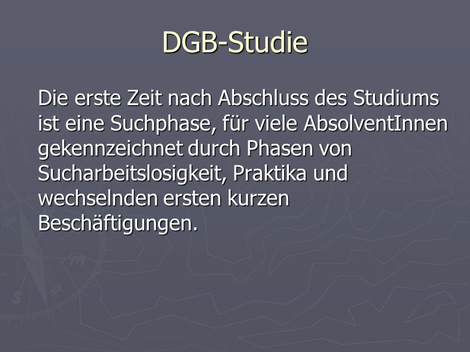 DGB-Studie Die erste Zeit nach Abschluss des Studiums ist eine Suchphase, für viele AbsolventInnen gekennzeichnet durch Phasen von Sucharbeitslosigkei