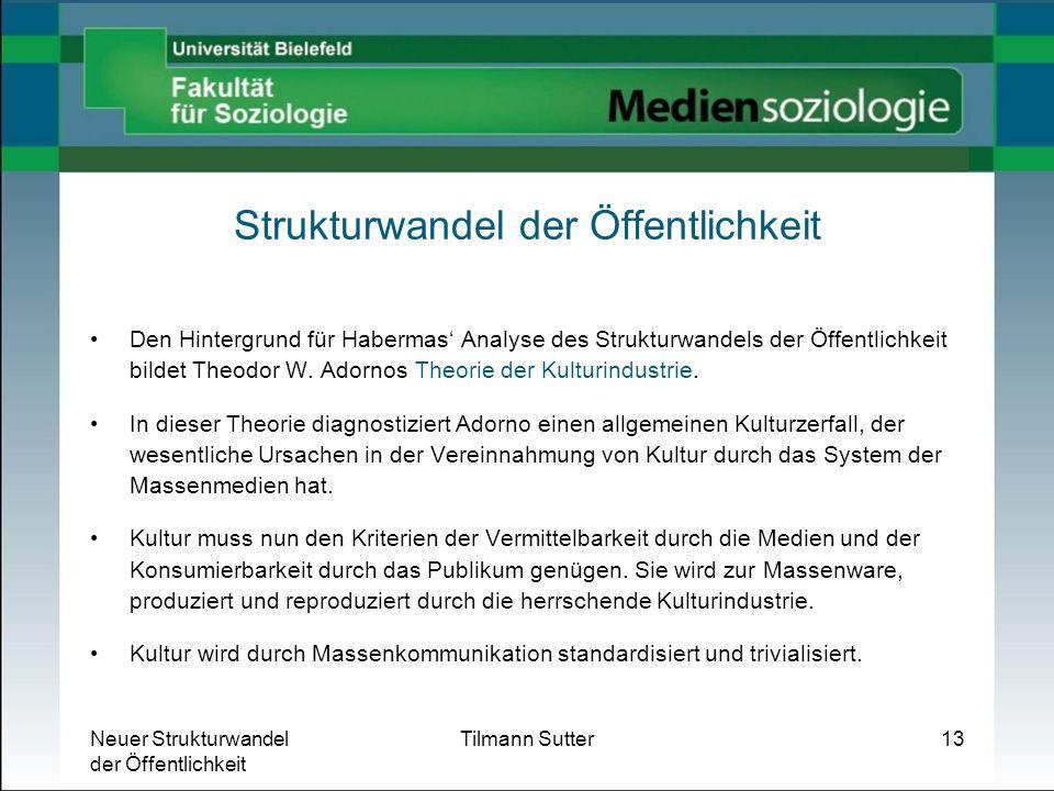 Neuer Strukturwandel der Öffentlichkeit Tilmann Sutter13 Strukturwandel der Öffentlichkeit Den Hintergrund für Habermas Analyse des Strukturwandels de