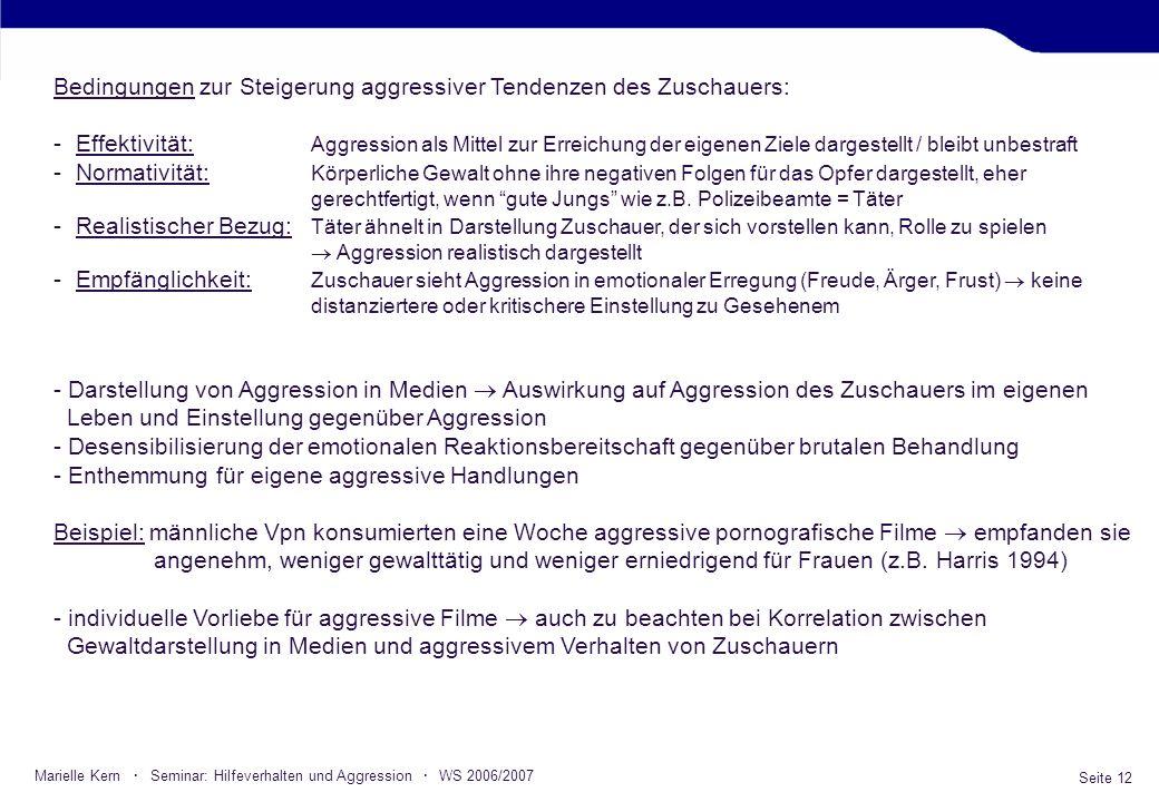 Seite 12 Marielle Kern · Seminar: Hilfeverhalten und Aggression · WS 2006/2007 Bedingungen zur Steigerung aggressiver Tendenzen des Zuschauers: -Effek