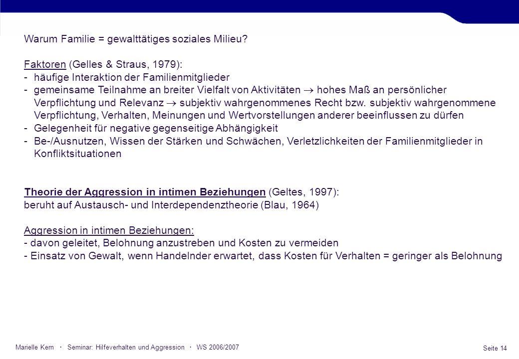 Seite 14 Marielle Kern · Seminar: Hilfeverhalten und Aggression · WS 2006/2007 Warum Familie = gewalttätiges soziales Milieu? Faktoren (Gelles & Strau