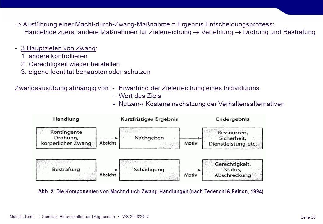 Seite 20 Marielle Kern · Seminar: Hilfeverhalten und Aggression · WS 2006/2007 Ausführung einer Macht-durch-Zwang-Maßnahme = Ergebnis Entscheidungspro