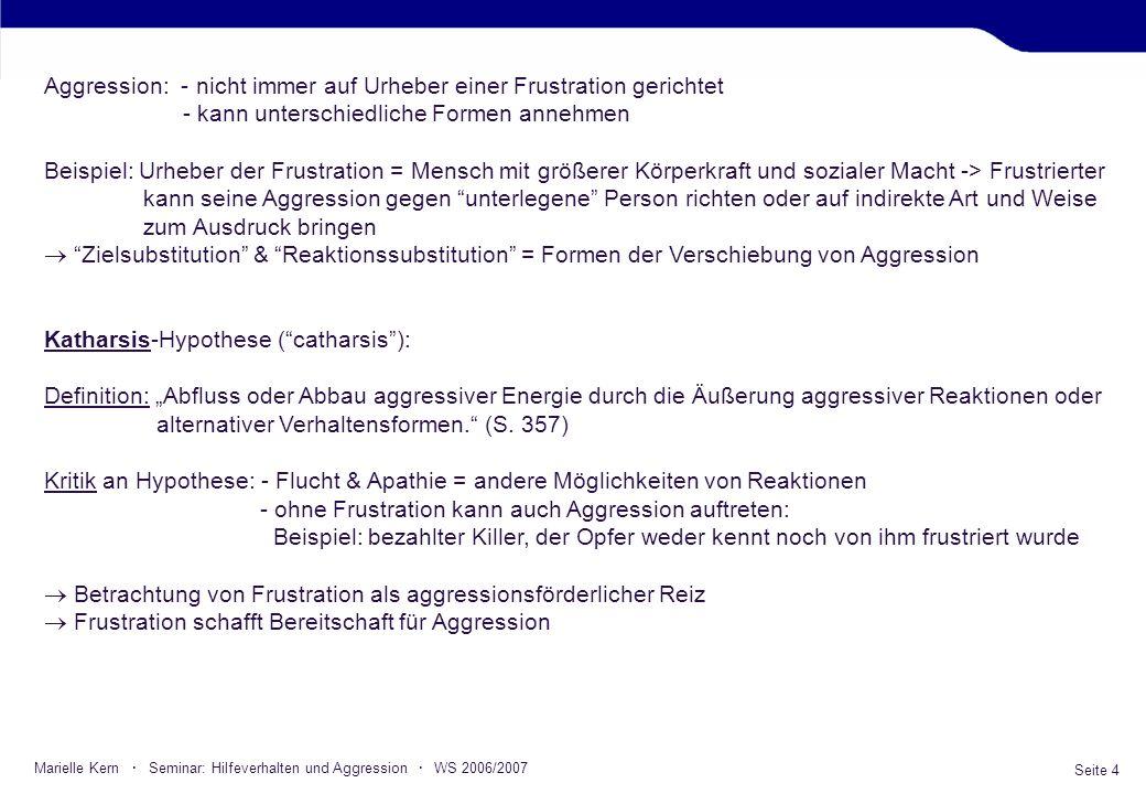 Seite 4 Marielle Kern · Seminar: Hilfeverhalten und Aggression · WS 2006/2007 Aggression: - nicht immer auf Urheber einer Frustration gerichtet - kann