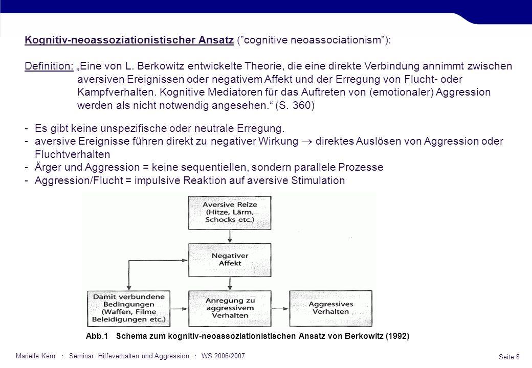 Seite 8 Marielle Kern · Seminar: Hilfeverhalten und Aggression · WS 2006/2007 Kognitiv-neoassoziationistischer Ansatz (cognitive neoassociationism): D