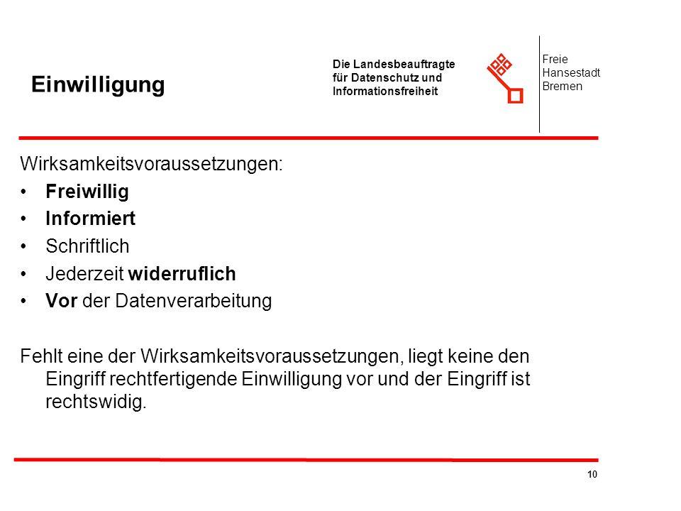 10 Die Landesbeauftragte für Datenschutz und Informationsfreiheit Freie Hansestadt Bremen Einwilligung Wirksamkeitsvoraussetzungen: Freiwillig Informi