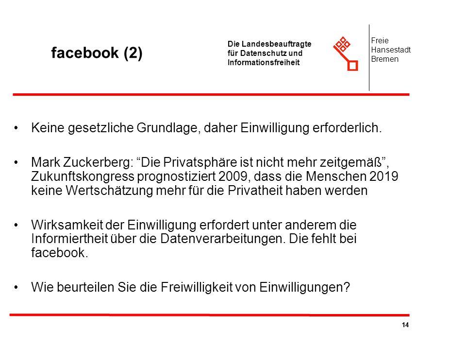14 Die Landesbeauftragte für Datenschutz und Informationsfreiheit Freie Hansestadt Bremen facebook (2) Keine gesetzliche Grundlage, daher Einwilligung
