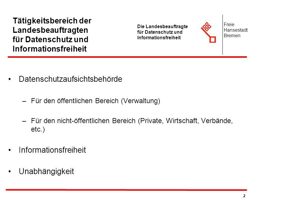 2 Die Landesbeauftragte für Datenschutz und Informationsfreiheit Freie Hansestadt Bremen Tätigkeitsbereich der Landesbeauftragten für Datenschutz und